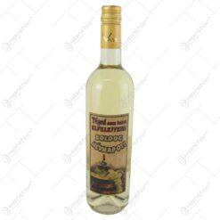"""Vin alb 0.75 ml cu eticheta din pluta """"Teged nem lehet elfelejteni... Boldog nevnapot"""""""