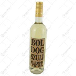 """Vin alb 0.75 ml cu eticheta din pluta """"Boldog szulinapot"""""""