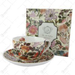 """Ceasca cu farfurie 280 ml """"Floral Dream"""" in cutie decorativa"""