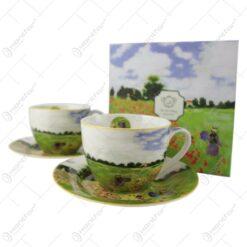 """Ceasca cu farfurie 280 ml """"Camp cu maci"""" de Claude Monet in cutie decorativa"""