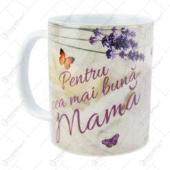 """Cana ceramica """"Pentru cea mai buna mama"""" 10 CM - Lavanda"""