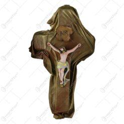 Cruce din ipsos si piele – Crucifix cu Isus rastignit 22x39 CM