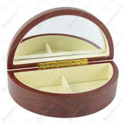 Cutie de bijuterii din lemn cu 2 compartimente si oglinda 21×11 CM