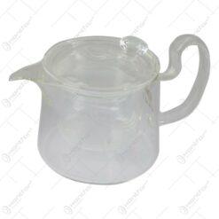 Cana Mini din sticla cu infuzor si capac 10 CM