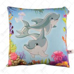 Perna de plus decorat cu delfini 34x30 CM