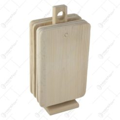 Set 6 tocatoare din lemn cu suport 32 CM