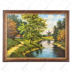 Tablou cu peisaj in rama realizata din lemn