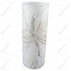 Vaza din sticla vopsita manual 23 CM - Design Fantezie gri