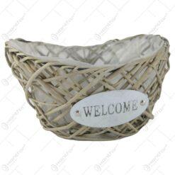 "Ghiveci din rachita ""Welcome"" 29x18 CM"
