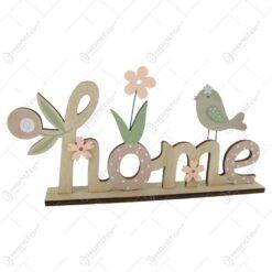 Decoratiune Home din lemn cu pasare si flori 28 CM