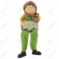 Figurina Bunic/Bunica din ceramica cu picioare textil 17 CM