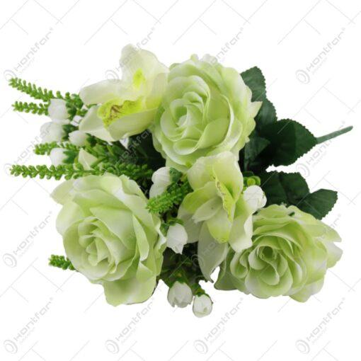 Buchet artificial cu trandafiri si orhidee 41 CM