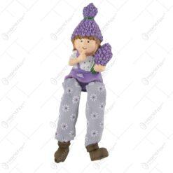 Figurina Baiat/Fata Lavanda din rasina cu picioare textil 17 CM