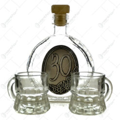Set plosca mica si pahare de tuica cu maner din sticla. cu decor embosat - 30