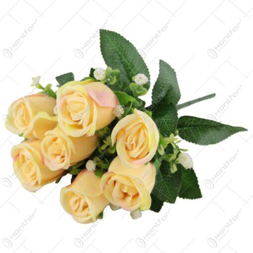 Buchet artificial cu trandafiri si eucalipt 30 CM