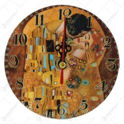 "Ceas din lemn ""Sarutul"" de Gustav Klimt 12 CM"