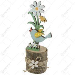 Decoratiune din lemn cu pasare si flori 15 CM