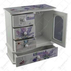 Cutie de bijuterii dulapior cu geam din lemn cu cinci sertare si oglinda 22x23 CM - Lavanda