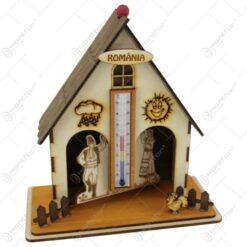 Casuta cu termometru din lemn Romania/Erdely 20 CM