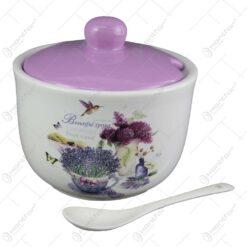 Zaharnita cu lingura si capac din ceramica
