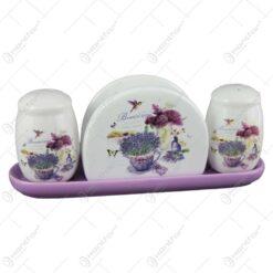 Set solnita si pipernita cu suport servetel din ceramica