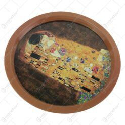 "Tava rotunda din metal ""Sarutul"" de Gustav Klimt 32 CM"