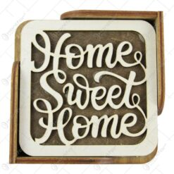 "Set 6 suporturi pahare din lemn 10 CM ""Home sweet home"""