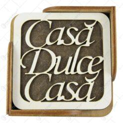 "Set 6 suporturi pahare din lemn 10 CM ""Casa dulce casa"""