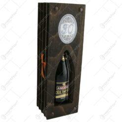 """Suport lemn in forma de carte cu o sticla de vin 200 ml """"30"""""""