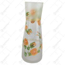 Vaza din sticla cu trandafiri 26 CM