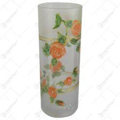 Vaza din sticla cu trandafiri 23 CM