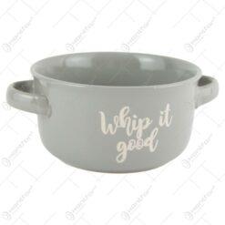 Bol ceramica cu manere Sassy/Whip it good 13x7 CM