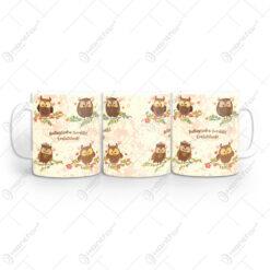 """Cana din ceramica pentru absolvire cu bufnite """"Ballagasodra szeretettel."""""""