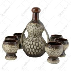 Set pentru vin din ceramica cu 6 cani - Strugure