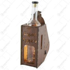 "Suport din lemn cu LED si sticla vin ""Legjobb nagyapanak"""