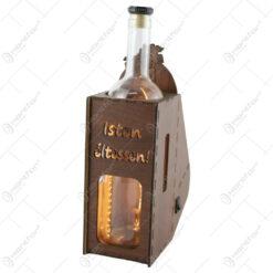"""Suport din lemn cu LED si sticla vin """"Isten eltessen"""""""