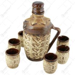 Set pentru vin din ceramica cu 6 cani - Model cu snur