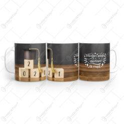 """Cana din ceramica pentru absolvire """"Felicitari pentru absolvire 2021"""""""