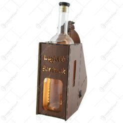 "Suport din lemn cu LED si sticla vin ""Legjobb baratnak"""