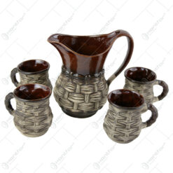 Set pentru vin din ceramica cu 4 cani - Model Impletit
