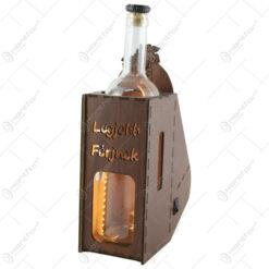 """Suport din lemn cu LED si sticla vin """"Legjobb ferjnek"""""""
