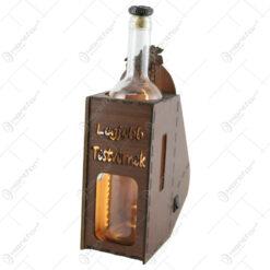 "Suport din lemn cu LED si sticla vin ""Legjobb testvernek"""