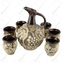 Set pentru vin din ceramica cu 6 cani - Model cu Struguri