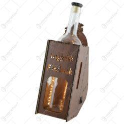 """Suport din lemn cu LED si sticla vin """"Legjobb fonoknek"""""""