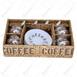 Set ceasca din 4 cesti realizate din ceramica cu accesorii - Design Coffee - Diverse modele