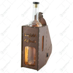 """Suport din lemn cu LED si sticla vin """"Legjobb apanak"""""""
