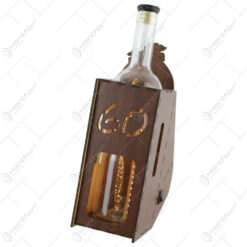 """Suport din lemn cu LED si sticla vin """"60"""""""