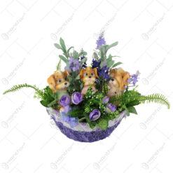 Cos oval cu flori si catelusi 30 CM