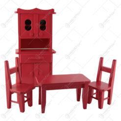 Set mobilier bucatarie 4 piese realizate din lemn - Rosu