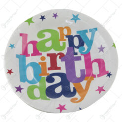 "Set 6 farfurii party decor ""Happy Birthday"" din carton"